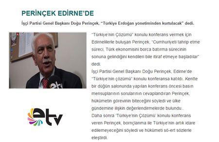 Edirne TV'de Yayınlanan Haberimiz