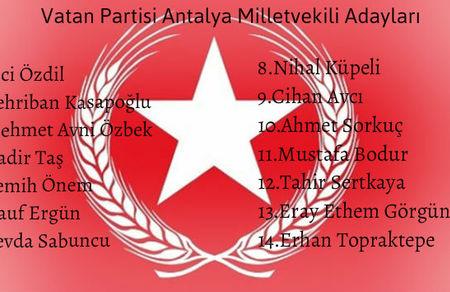 Vatan Partisi Antalya Milletvekili Adaylarımız