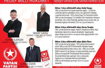 Vatan Partisi Edirne Adaylarını Belirledi