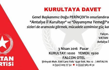 Antalya İl Kurultayı ve Dayanışma Yemeği