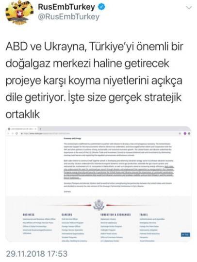 Rusya Ankara Büyükelçiliği de resmî Twitter hesabından açıklamaya ilişkin tweet attı