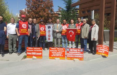 Eskişehir İl Başkanlığımız Tüvtürk/Reysaş mağduru işçileri ziyaret etti
