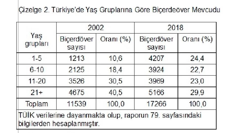 Çizelge 2. Türkiye'de Yaş Gruplarına Göre Biçerdeöver Mevcudu