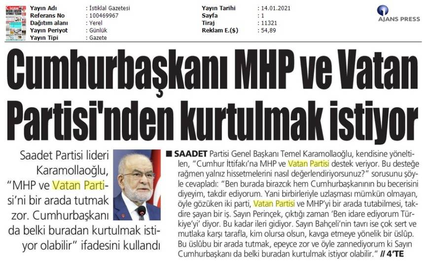 210114 İstiklal Gazetesi - İstanbul