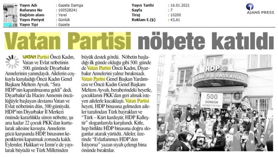 210116 Gazete Damga - İstanbul